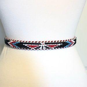 Vintage Belt Beaded Leather Native Small Southwest
